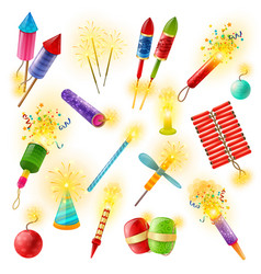 Pyrotechnics firework cracker sparkler colorful vector