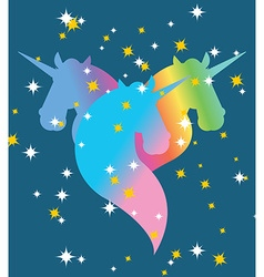 Rainbow Unicorn Starry blue sky Symbol of LGBT vector image