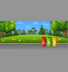 recycling trash bins on the street vector image