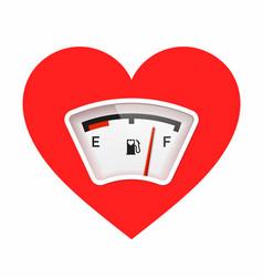 red heart with fuel gauge love meter valentines vector image
