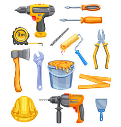 Repair tool and equipment watercolor icon design vector
