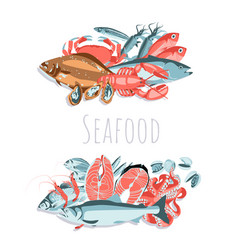Seafood banner template vector