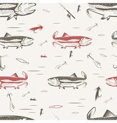 Seamless pattern on subject fishing vector