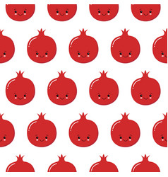 Seamless pomegranate pattern fruit background vector