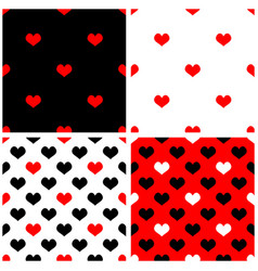 seamless red black white background set vector image