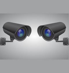 Security cameras black cctv surveillance system vector