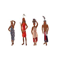 Set aboriginal women and men from africa in vector