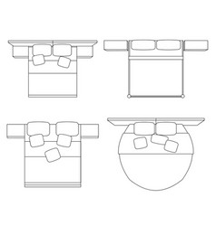 set contour drawing double beds with a top vector image