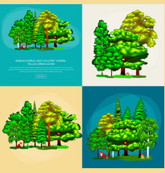 set green forest summer trees collection in nature vector image