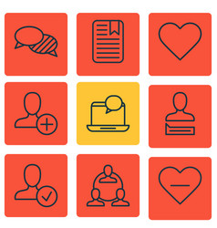 Set of 9 social network icons includes confirm vector