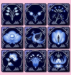 set of ceramic tiles in ethnic style painted on vector image