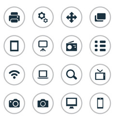 Set of simple technology icons vector