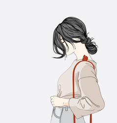 she stood in front of a shopping store vector image