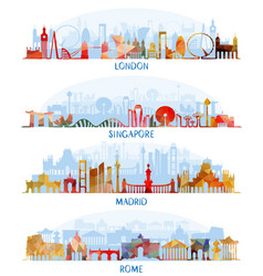 Skyline flat set london singapore madrid rome vector