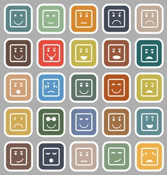 Square face flat icons on gray background vector