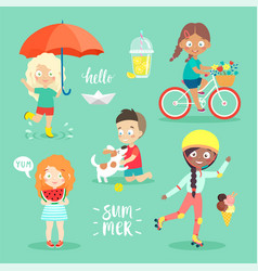summer kids set riding bicycle playing and vector image