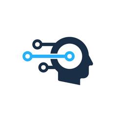 tech human head logo icon design vector image