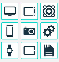 Technology icons set with palmtop camera tablet vector