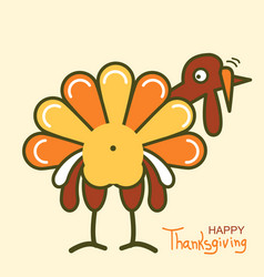 thanksgiving turkey for happy day vector image