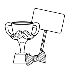 trophy with moustache bow tie and signboard black vector image