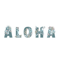 tropical summer pattern hand drawn aloha palm vector image