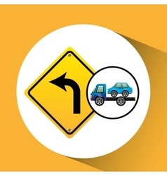 Truck crane and car with road sign vector
