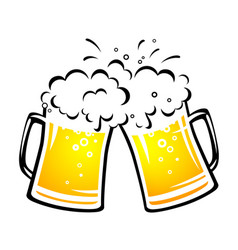 Two bright beer mugs with foam and droplets vector