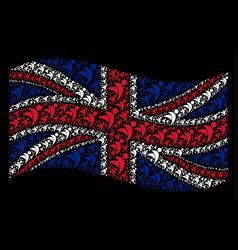 Waving united kingdom flag pattern of winged man vector