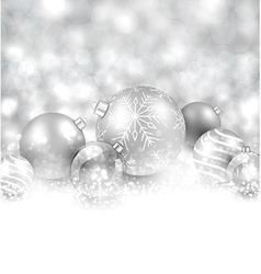 Winter background with silver christmas balls vector image