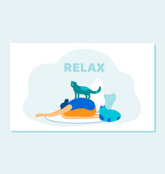 Woman doing yoga asana cat sitting on her back vector