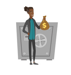 Young african businessman holding a money bag vector
