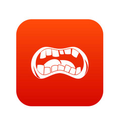 Zombie mouth icon digital red vector