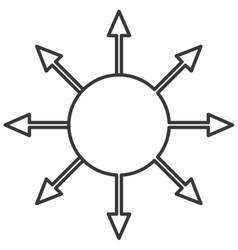 circle with arrows coming out icon vector image