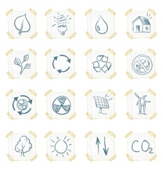 eco sticker icon set vector image vector image