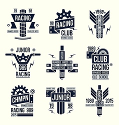 Emblems motorcycle races in retro style vector image