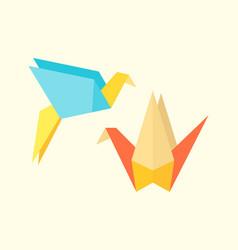 origami birds crane abstract nature icon craft vector image