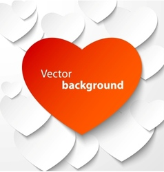 Red paper heart banner with drop shadows vector image