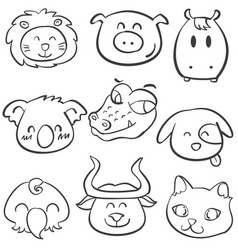 animal head style doodle collection vector image vector image