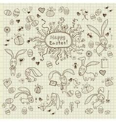 Easter hand drawn icons set vector image