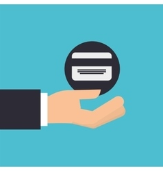 Hand holding icon credit card design isolated vector