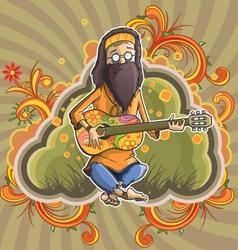 Hippie with guitar in nirvana vector image