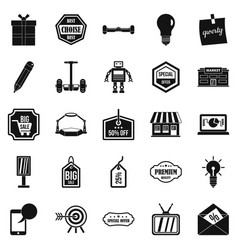 sale of advertising icons set simple style vector image vector image