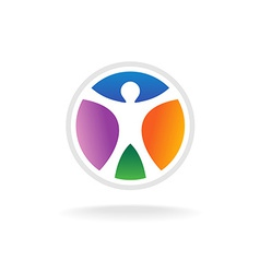 Standing man in the color circle logo template vector image