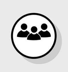team work sign flat black icon in white vector image vector image