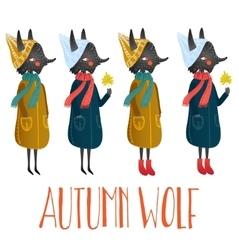 very cute autumn wolf cute little vector image
