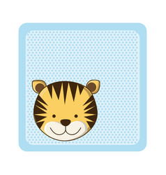 Colorful greeting card with picture tiger animal vector
