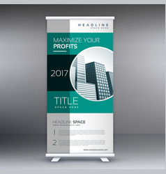 corporate green modern standee roll up banner vector image vector image