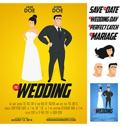 Funny glossy movie poster wedding invitation vector