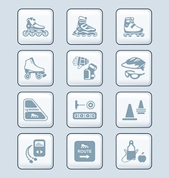 Inline skating icons - TECH series vector image