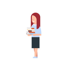 school girl holding stack of books isolated cute vector image